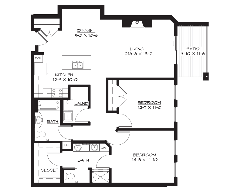 2 bedroom floor plans. 2 Bedroom  Bath 1340 sq ft Rent From 2850 Quayside Wayzata Floor Plans